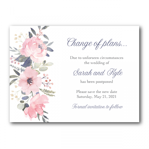 watercolor pink floral change the date