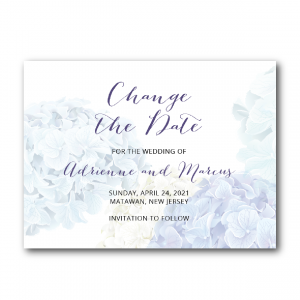 hydrangeas change the date invitations