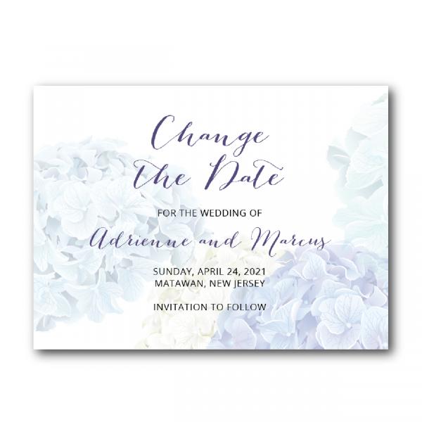 hydrangeas change the date invitations