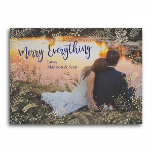 Gold Holly Merry Everything Photo Holiday Card