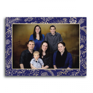 Gold Holly Frame Holiday Card